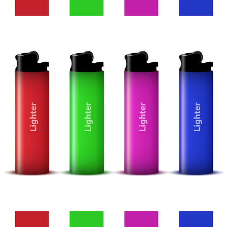 vector colored lighters  Icon object  Vector