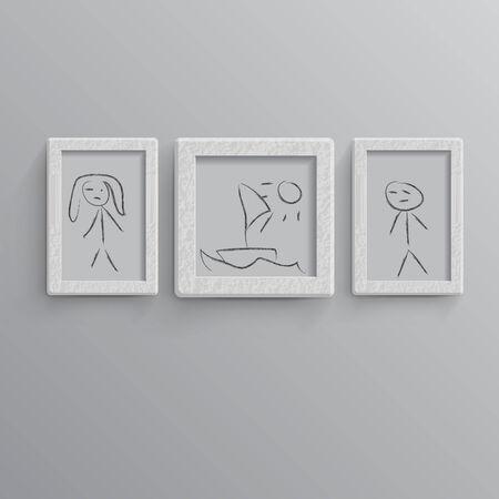 Set of white photo frames  Child illustration