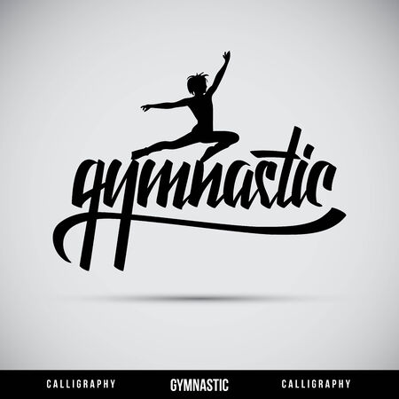 typography signature: Gymnastic hand lettering - handmade calligraphy, vector