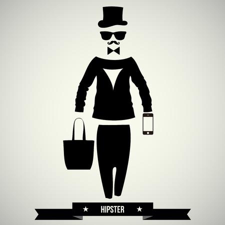 sir: Vintage design elements set  hats glasses sungl asses mustaches bow  ties  - vector illustration