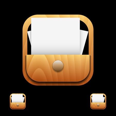 Document Icon on Square Black Internet Button Original Illustration Illustration