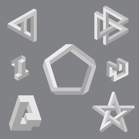 Optical illusion symbols  Vector illustration