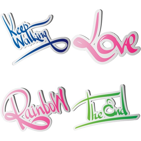 Set of various drawn and rendered   Lettering label Illustration
