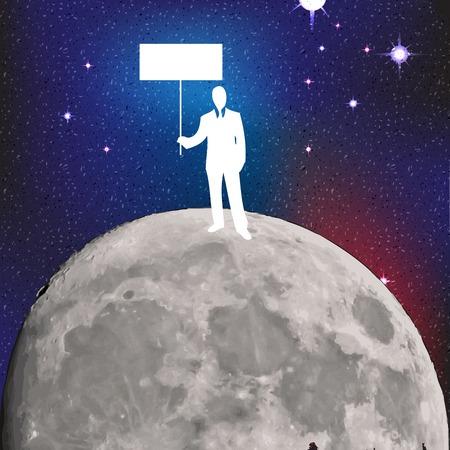 businessman on the moon  Vector illustration