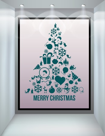 Christmas tree applique vector  background  Illustration