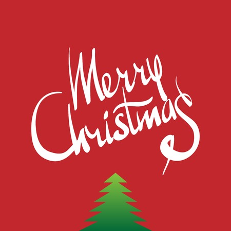 Merry Christmas hand lettering -  handmade calligraphy, vector
