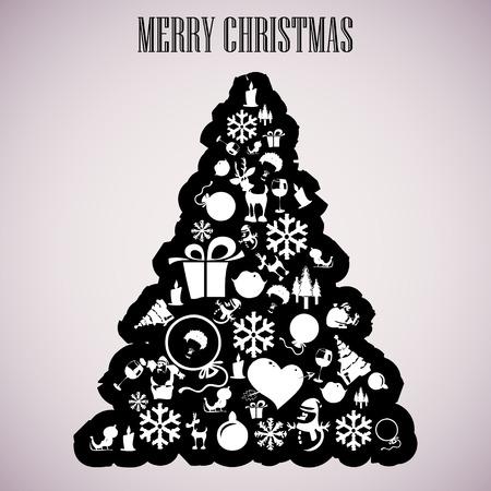 Christmas tree applique vector  background  Postcard Illustration