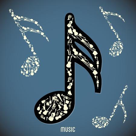 High contrast music instruments  Vector illustration