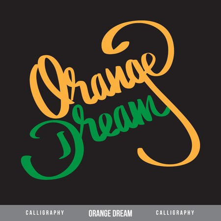 ORANGE DREAM hand lettering - handmade calligraphy, vector Illustration