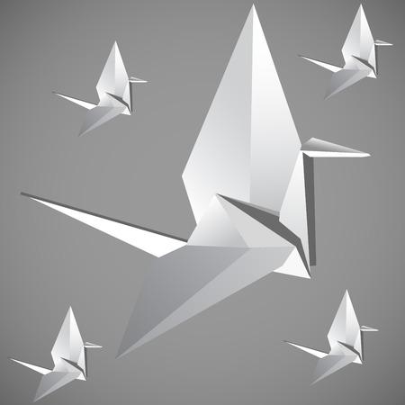 Origami Bird  Grey Vector illustration Vector