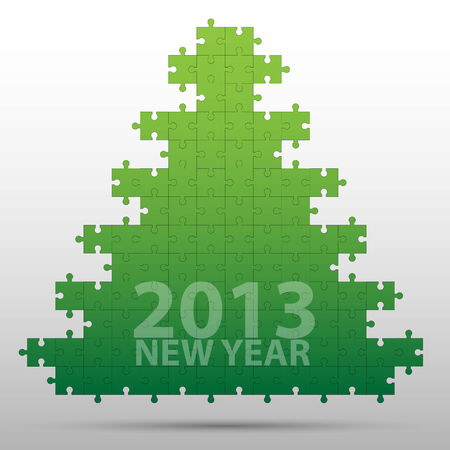 New year tree and decorations on winter background