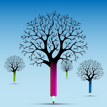 Set of tree pencils with light bulb idea  concept  Illustration