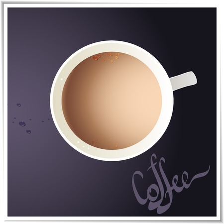 Coffee cup with world map on background, top view   Illustration