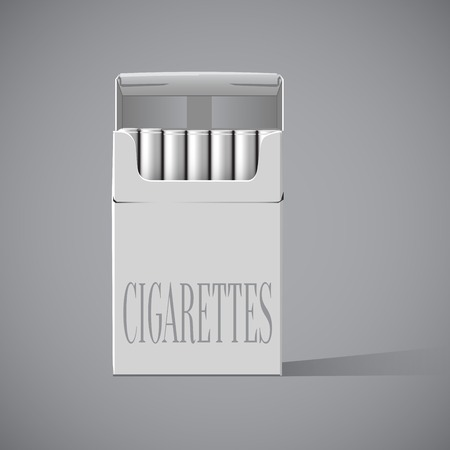 baccy: Pack of cigarettes with cigarettes sticking out isolated on white  Illustration