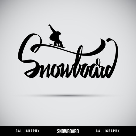 Snowboard hand lettering - handmade calligraphy, vector