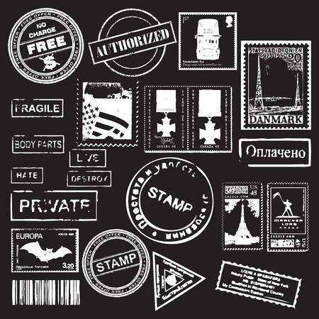 Vector Set of Retro stamps -  for design and scrapbook Vector