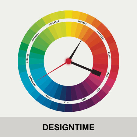 time for design concept clock closeup on background with black words Vector