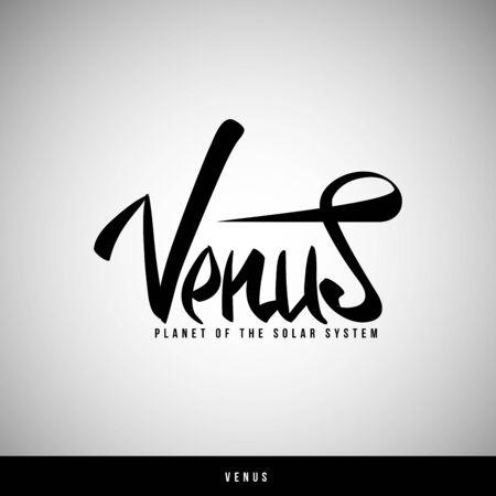 Venus hand lettering -  handmade calligraphy, vector