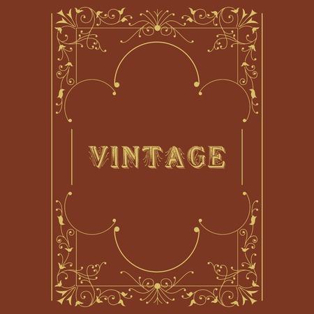 Vector vintage border  frame engraving  with retro ornament pattern in antique rococo style decorative design Vector