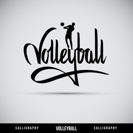Volleyball hand lettering - handmade calligraphy, vector Illustration
