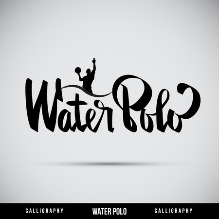 water polo: Hand lettering Waterpolo - caligrafía hecha a mano, vector
