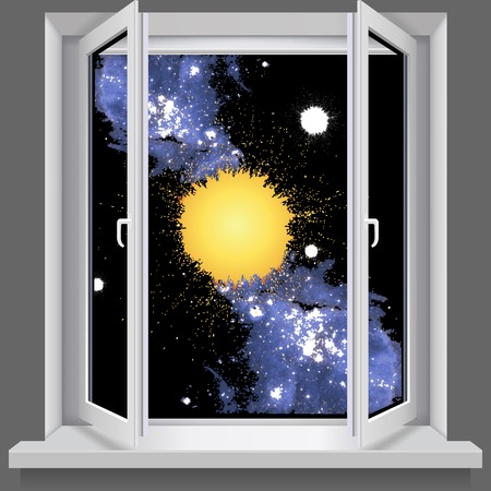 double glazing: Opened plastic window   With views of the cosmos