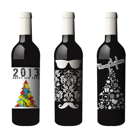 Three labeled wine bottles isolated with clipping path