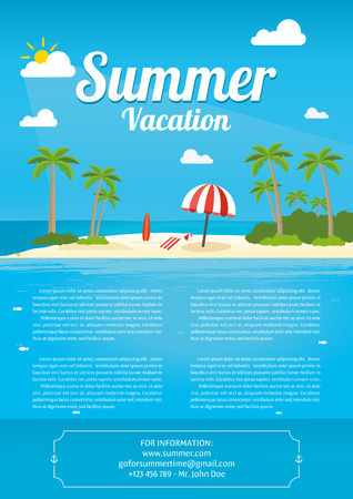 Vector Illustration of the sea island beach background with words VACATION  Summer Vacation Фото со стока