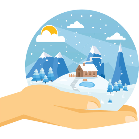 Hands holding winter day sphere  Vector image - Winter Vacation
