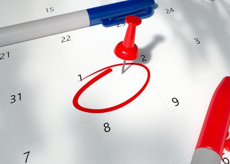 Imagen conceptual de un pin rojo en el calendario con un espacio vacío en forma de círculo para recordar una cita importante. Calendario de ilustración de render 3D. Día fijado, primer plano.