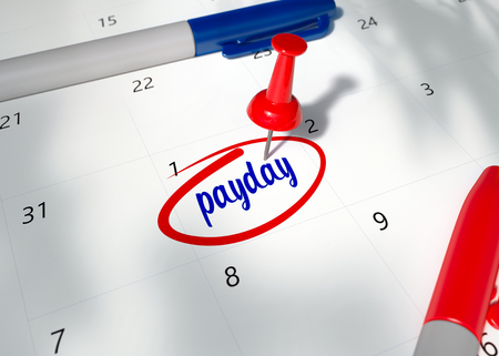 Pin on calendar with word PAYDAY. 3D Render Illustration of Payday Calendar