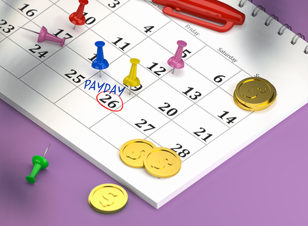 Isometric 3D Render Calendar with colorful pins and gold coins. Calendar of 26th April 2019 circled payday or payroll or paycheck. Pinned, closeup.