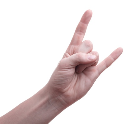 Hand formed in a goat sign photo