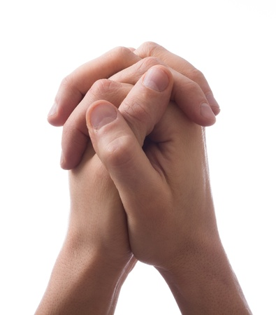 clasps: Hands clasped together for a prayer