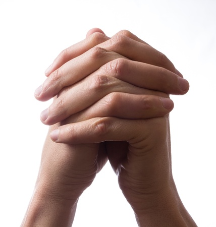 Hands clasped together for a prayer photo