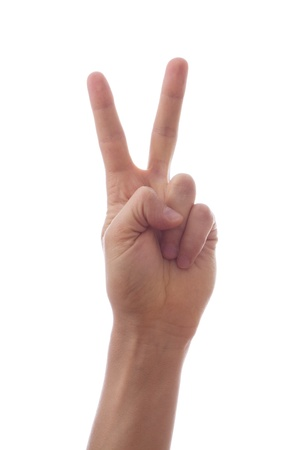 Two fingers raised up Stock Photo - 18297977