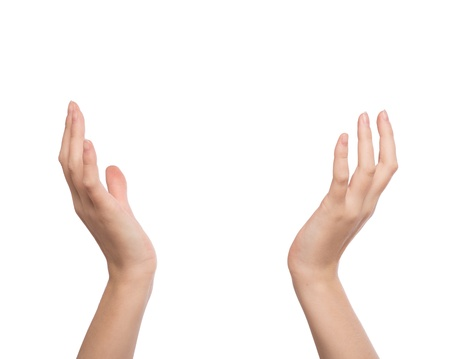 Two hands raised up Stock Photo