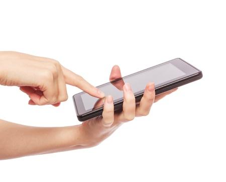 Hübsche junge Frau mit einem Tablet-PC Lizenzfreie Bilder