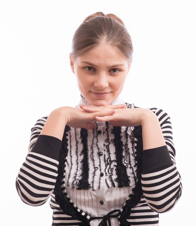 Woman Peaking Through Hands on her face Stock Photo - 18529347