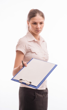 Young beautiful woman with a clipboard Stock Photo - 18524744