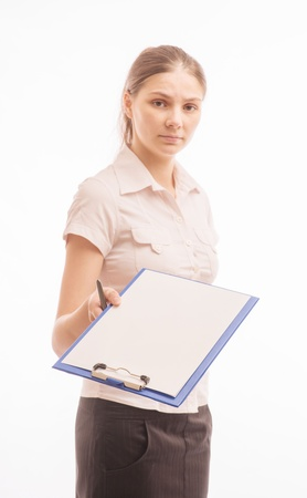 Young beautiful woman with a clipboard Stock Photo - 18524716