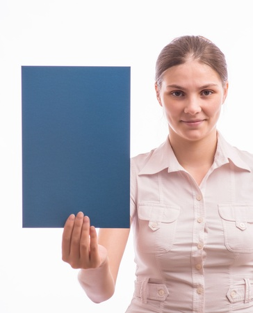 A woman holding a sheet of blue paper Stock Photo - 18529162