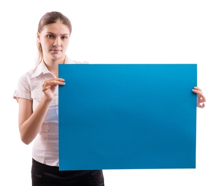 A woman holding a sheet of blue paper Stock Photo - 18524847
