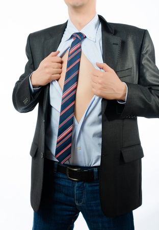 shirt unbuttoned: Superhero businessman opening  shirt