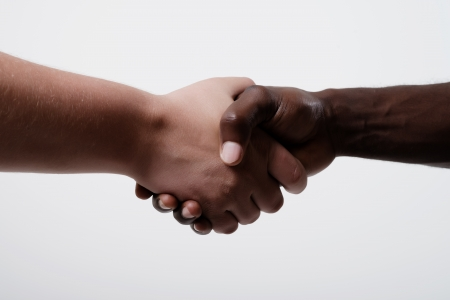 African American businessman shaking hands with caucasian businessman photo