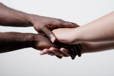Closeup portrait of group with mixed race people with hands together Stock Photo - 19767518