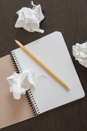 Notebook with a pencil and crumpled sheets of paper. Concept of searching for ideas Stock Photo - 19767369