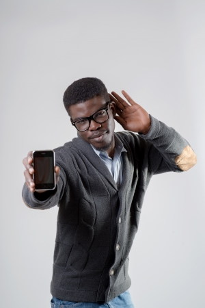 African-American businessman using smartphone photo