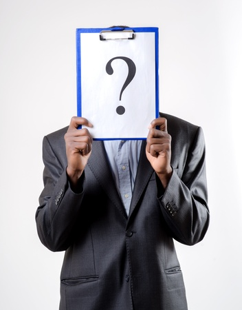 African-American businessman holding a question mark photo