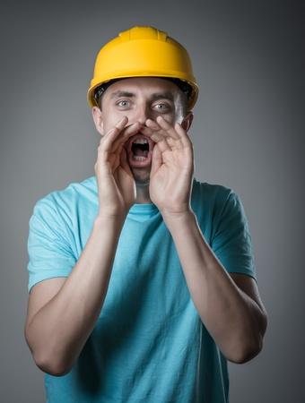 worker in helmet cry Stock Photo - 20666650